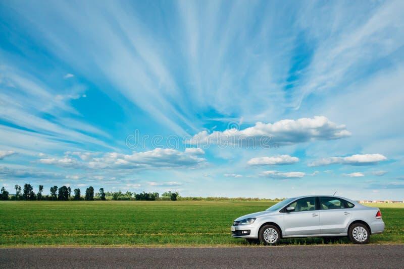 Sehen Sie Park-Volkswagen Polo an Gomel, Weißrussland lizenzfreie stockbilder