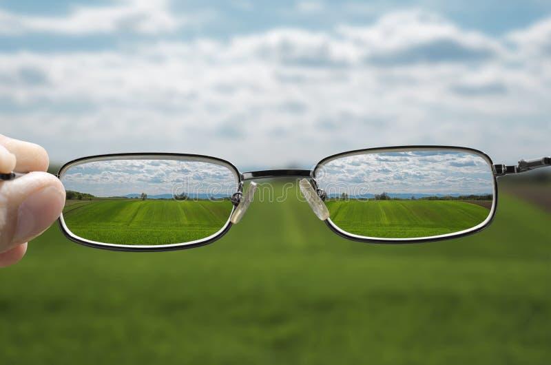Sehen von Landschaft durch Gläser lizenzfreie stockfotografie