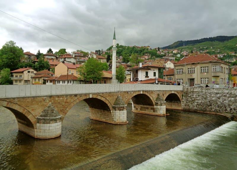 Seher-cehajina most nad Miljacka rzeką w Sarajevo, Bośnia i Herzegovina, obrazy stock