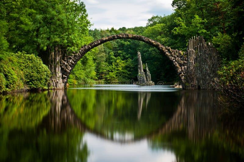 Sehr alte Steinbrücke über dem ruhigen See mit seiner Reflexion im Wasser stockfotos