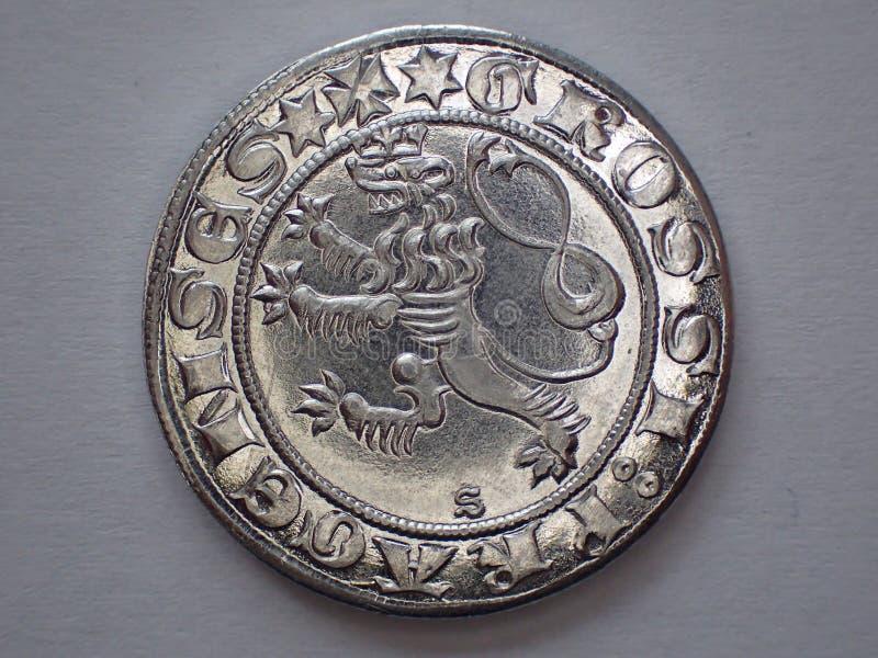 sehr altes tschechisches silbernes Geld lizenzfreie stockfotos