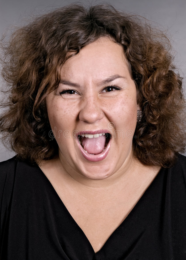Sehr emotionale Frau stockfoto