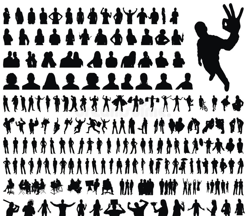 Sehr große Ansammlung Leuteschattenbilder vektor abbildung