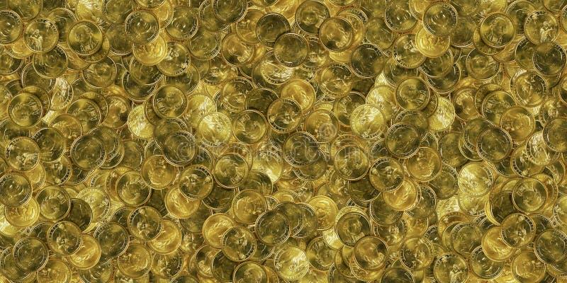 Sehr großer Stapel der Goldmünzen lizenzfreie stockbilder
