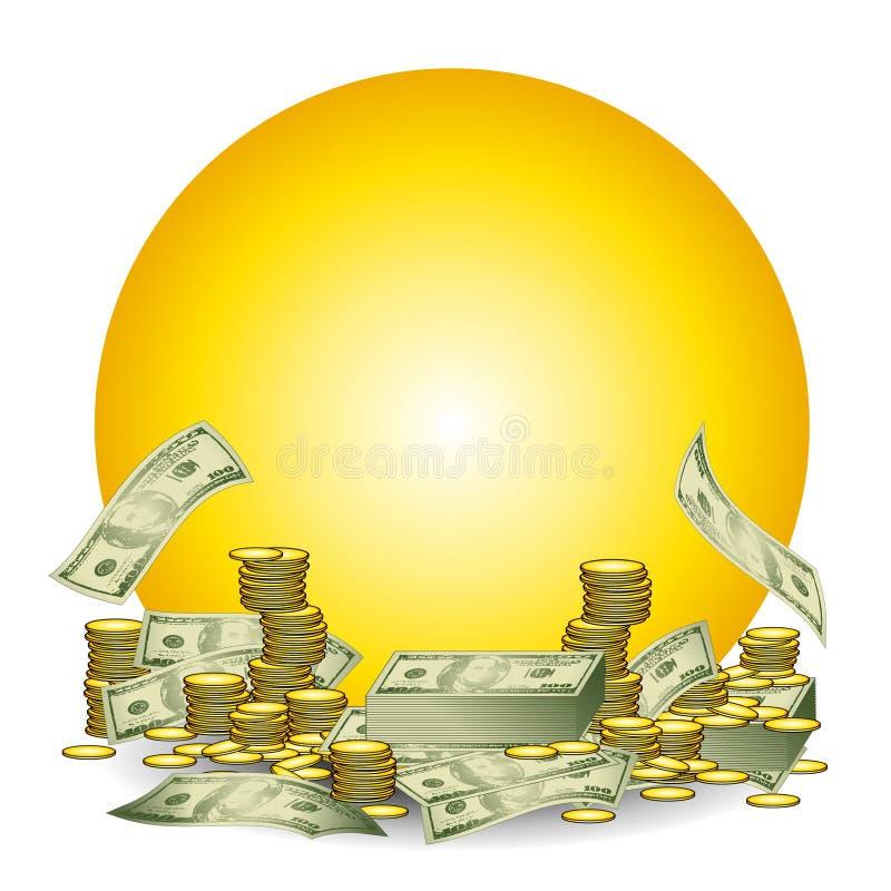 Sehr großer Stapel des Bargeldes und der Münzen lizenzfreie abbildung
