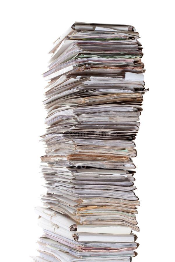 Sehr großer Stapel Papiere stockbild