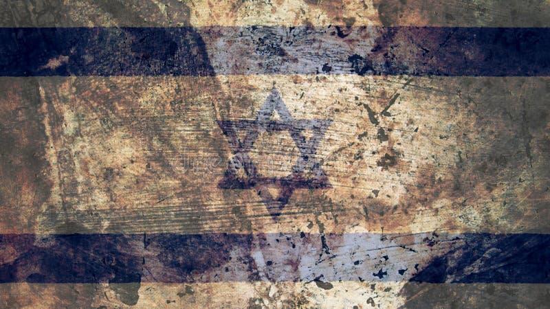 Sehr Grungy israelische Flagge, Israel Grunge Background Texture vektor abbildung