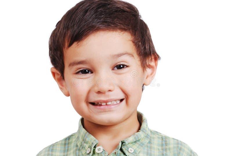 Sehr netter netter Junge mit Lächeln auf dem Gesicht getrennt lizenzfreie stockfotografie