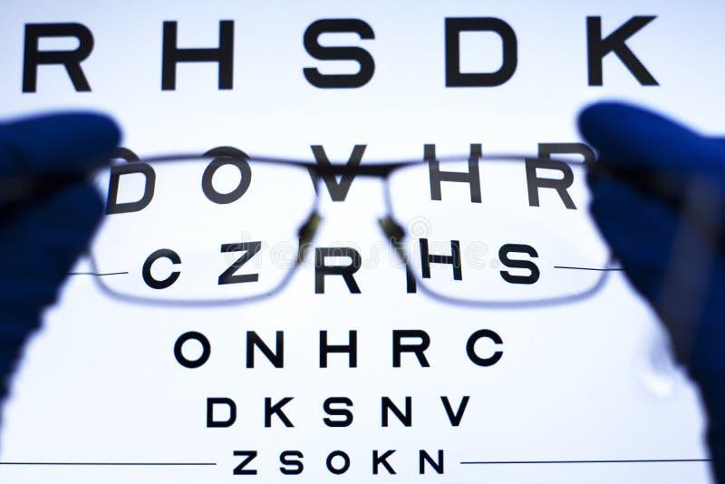 Sehtest mit Buchstaben und Auswahl von Linsen für Gläser Konzept der schlechten Vision lizenzfreie stockfotos
