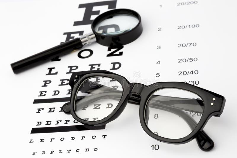 Sehvermögentest mit schwarzem kleinem Vergrößerungsglas, Gläser und snellen Diagramm stockbild