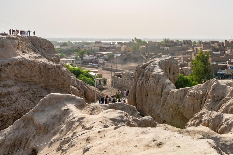 Sehwan Sharif Fort 25. Sehwan Sharif Fort Wall Ruins Picturesque View of Cityscape During Eid Al Fitr on a Sunny Blue Sky Day stock images