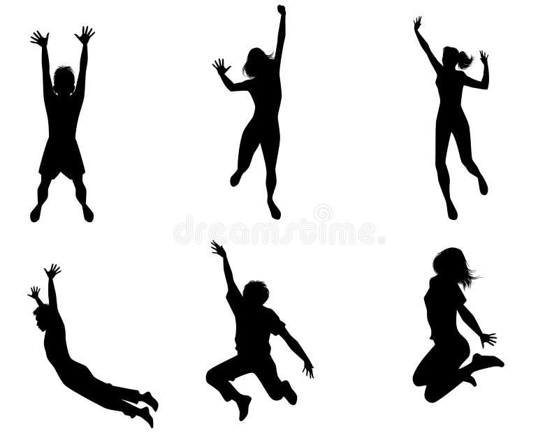 Sei adolescenti di salto illustrazione di stock