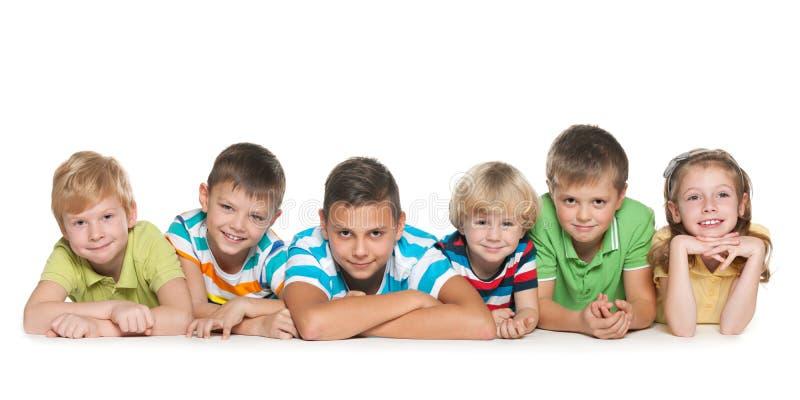 Sei bambini felici immagine stock