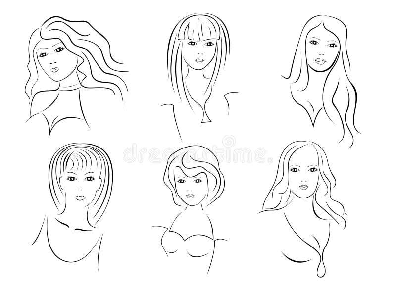 Sei bei ritratti delle giovani donne royalty illustrazione gratis