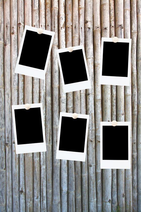 Sei blocchi per grafici in bianco della foto su bambù fotografie stock libere da diritti