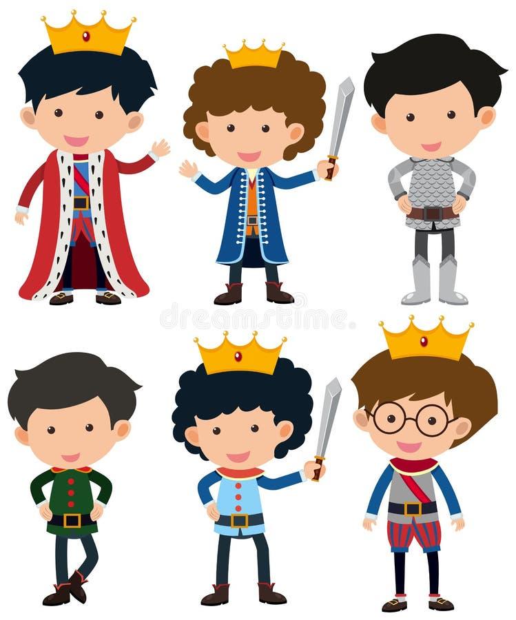 Sei caratteri di principe e del cavaliere illustrazione di stock