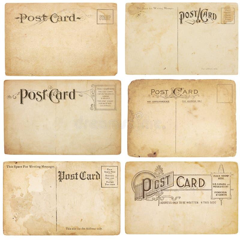 Sei cartoline Unstamped dell'annata fotografia stock