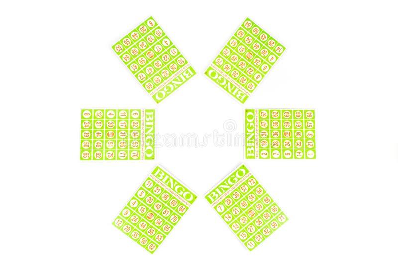 Sei della carta di bingo pronta ad essere gioco fotografia stock libera da diritti