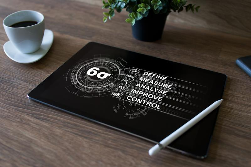 Sei diagrammi di sigma, concetto industriale di fabbricazione magra sullo schermo fotografie stock libere da diritti
