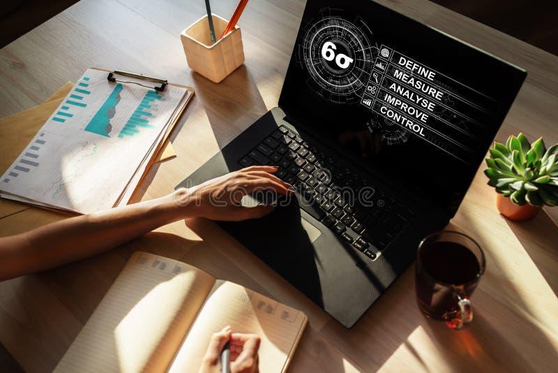 Sei diagrammi di sigma, concetto industriale di fabbricazione magra sullo schermo fotografia stock