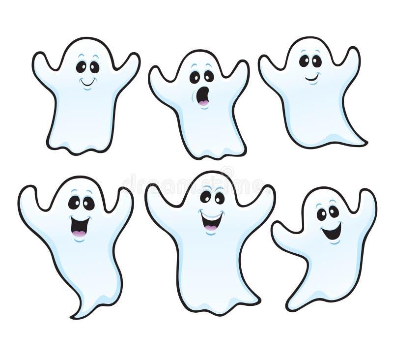 Sei fantasmi spettrali di Halloween illustrazione vettoriale