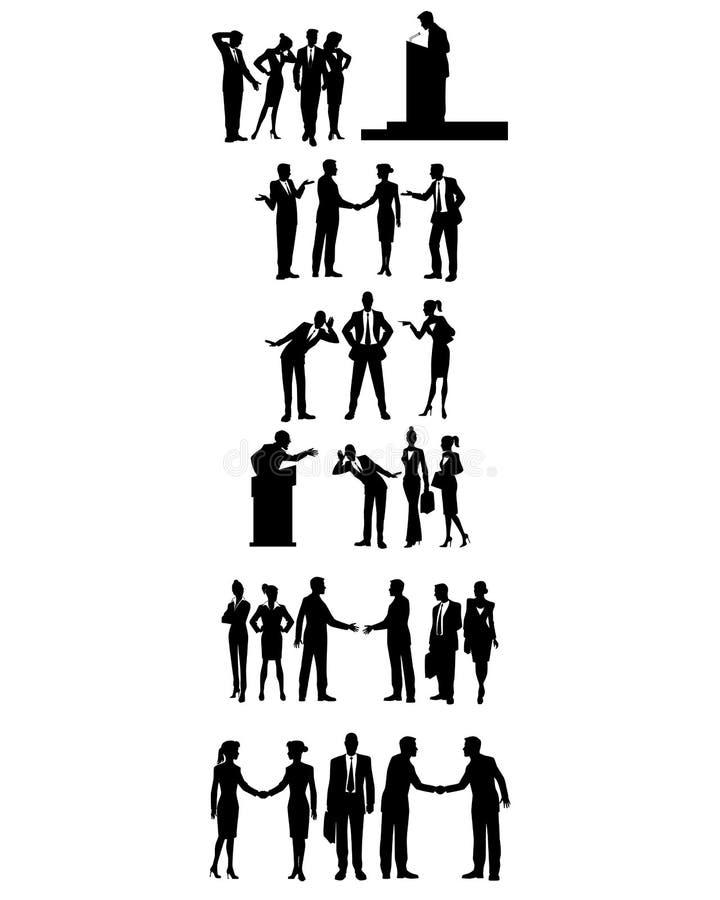 Sei gruppi di gente di affari illustrazione di stock