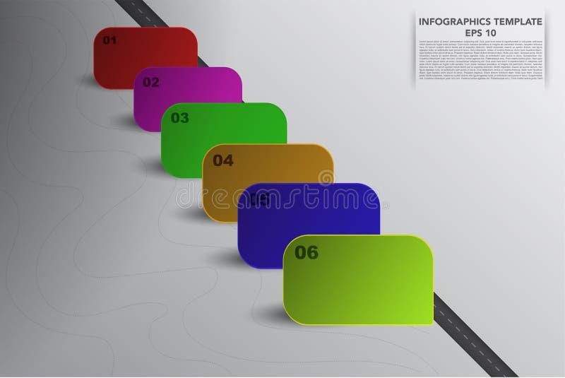 Sei infographics di cronologia di punti con il quadrato 3D obiettano in variou royalty illustrazione gratis