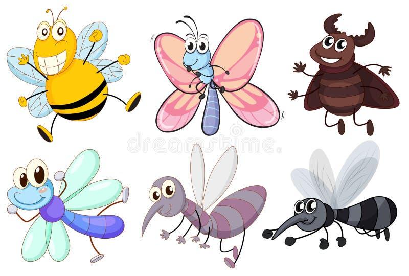 Sei insetti di volo illustrazione di stock