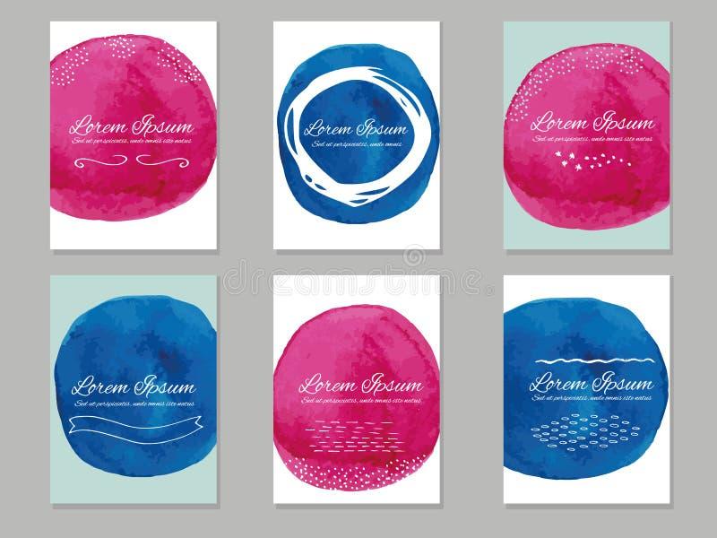 Sei modelli dei biglietti da visita di vettore con i cerchi dipinti a mano della spazzola royalty illustrazione gratis
