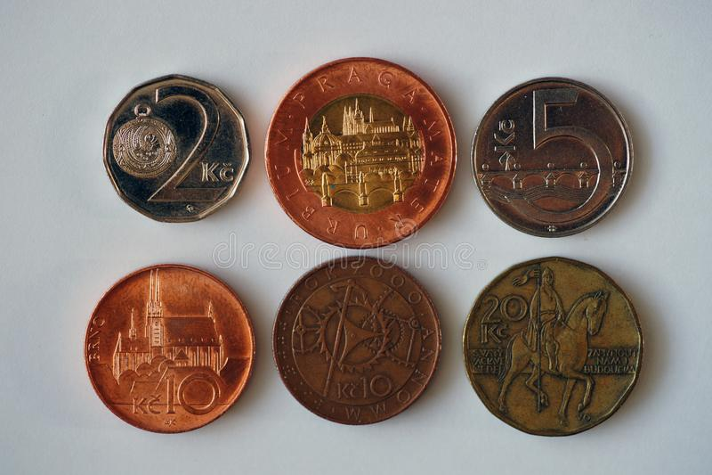 Sei monete dalla repubblica Ceca fotografia stock