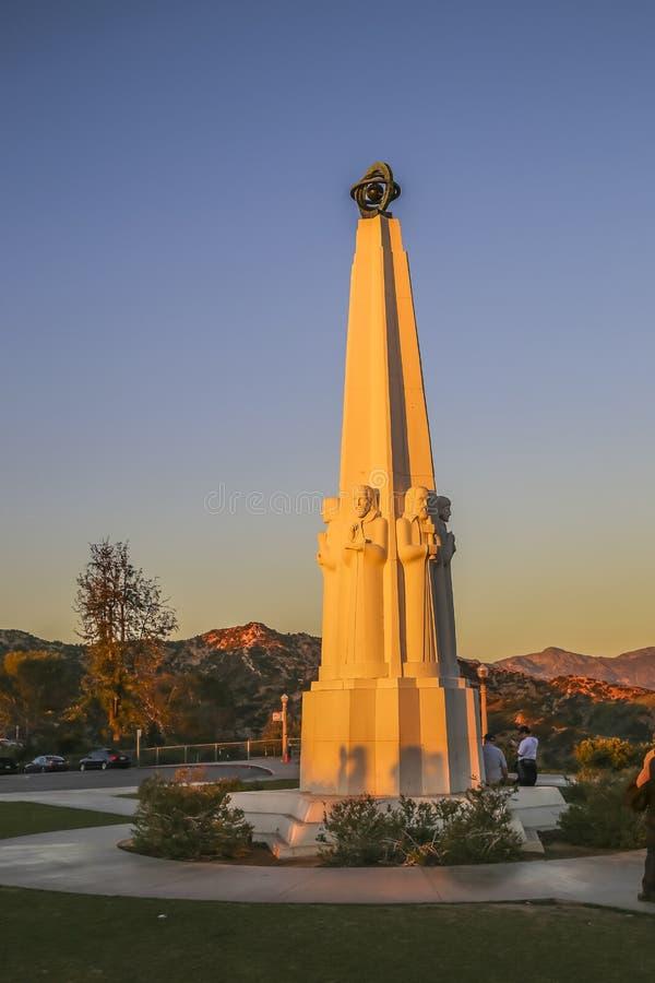 Sei monumenti degli astronomi a Griffith Observatory fotografie stock