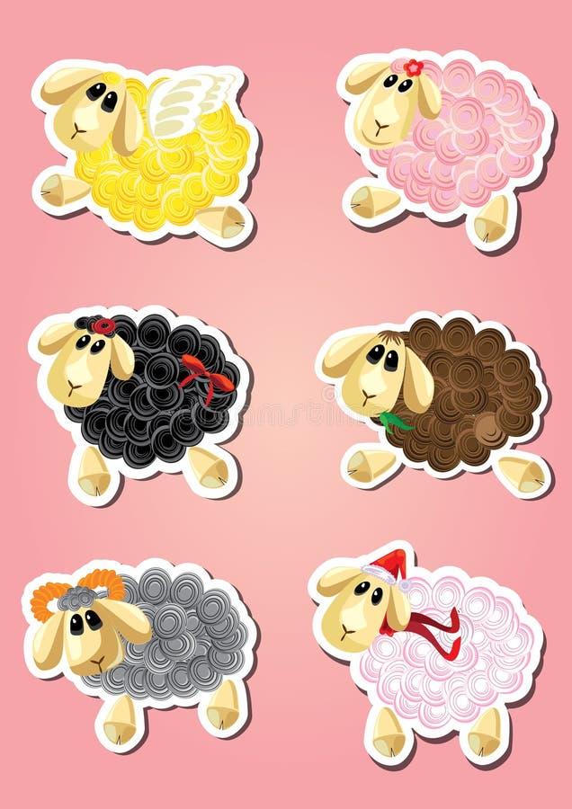 Sei pecore divertenti del fumetto - animali da allevamento immagini stock