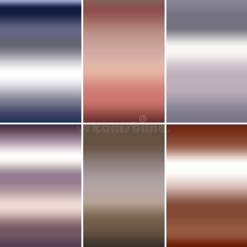 Sei pendenze metalliche astratte nelle tonalità rosa del rame e del titanio dell'oro del cromo d'argento illustrazione di stock
