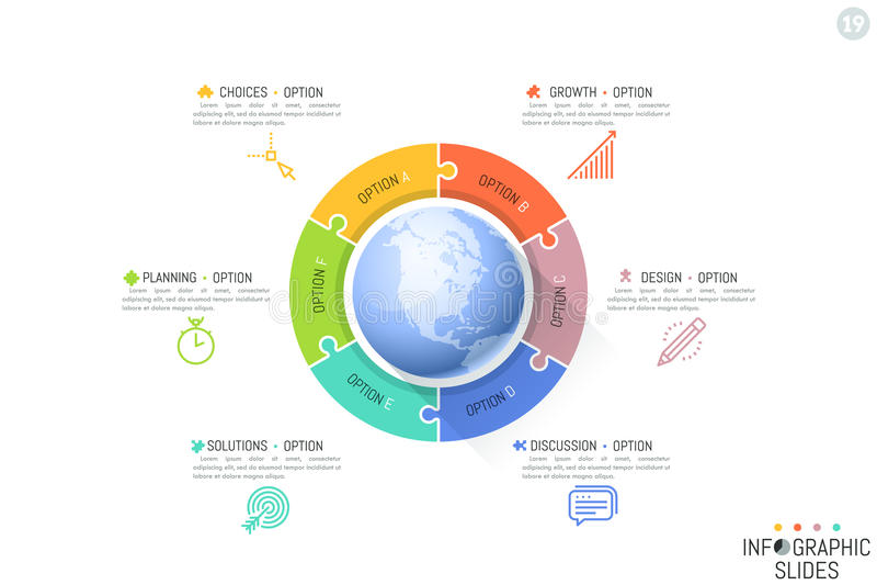 Sei pezzi del puzzle disposti intorno a pianeta Terra Caratteristiche di sviluppo internazionale, processi aziendali globali illustrazione di stock