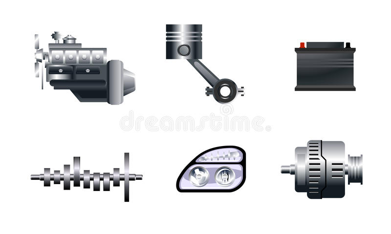 Sei pezzi di ricambio automatici illustrazione di stock