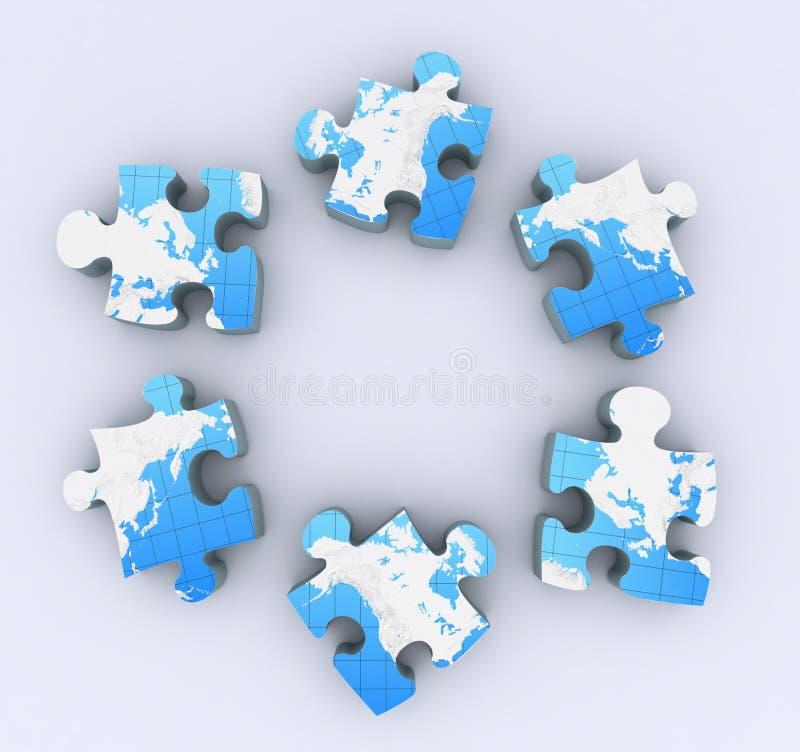 Sei puzzle su bianco illustrazione vettoriale