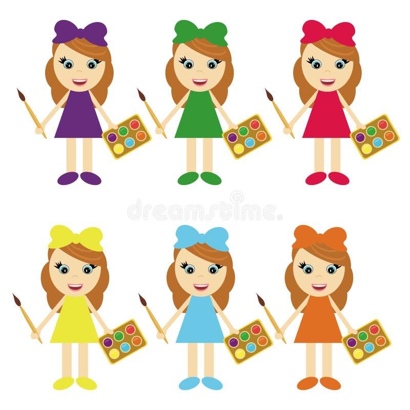 Sei ragazze con le vernici a colori i vestiti royalty illustrazione gratis
