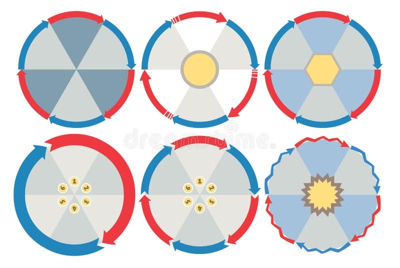 Sei schemi circolari rotondi del diagramma di flusso di punti illustrazione di stock