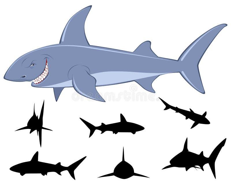 Sei siluette degli squali royalty illustrazione gratis