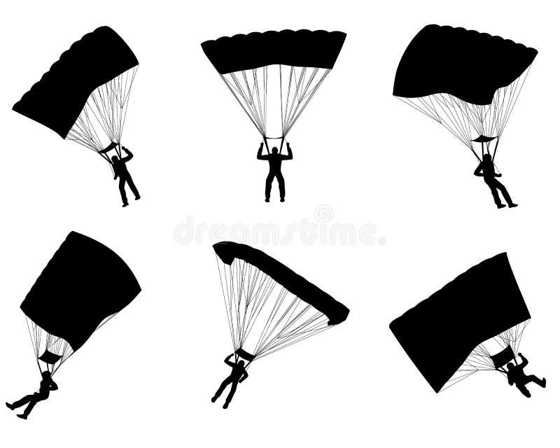 Sei siluette dei paracadutisti illustrazione vettoriale