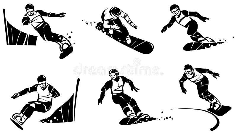 Sei snowboarders fanno concorrenza nello slalom Illustrazione disegnata a mano royalty illustrazione gratis