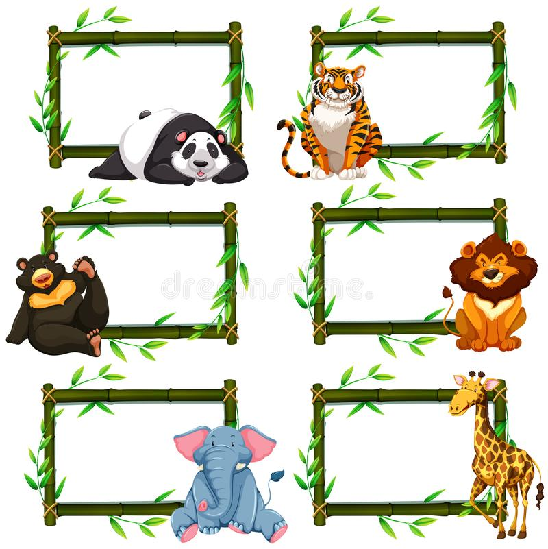 Sei strutture di bambù con gli animali selvatici illustrazione vettoriale