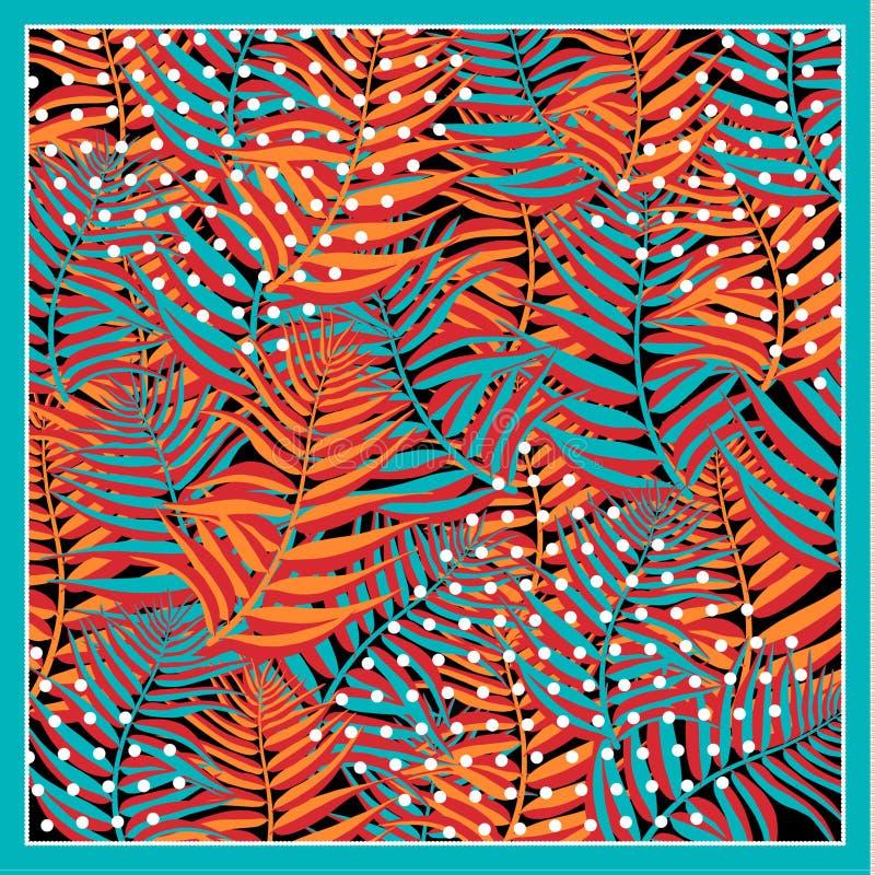 Seidenschal mit Palmblättern auf grauem Hintergrund mit Leopardenflecken lizenzfreies stockfoto