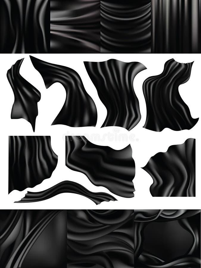 Seidiges Gewebe des Silk Vektorschwarzen und materieller Illustrationssatz des eleganten dunklen Satins des Drapierung masern flü lizenzfreie abbildung