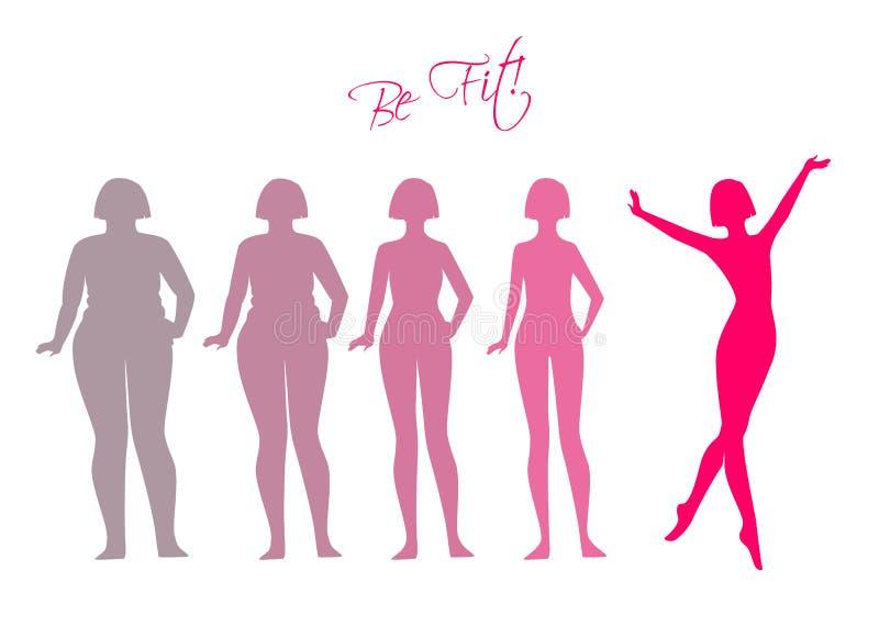 Seien, Frauenschattenbildbilder gepasst Sie vektor abbildung