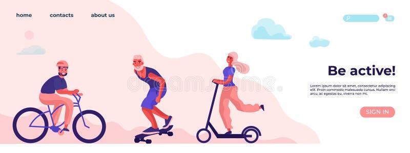 Seien Sie aktive und körperliche Tätigkeit Sport und Erholungskonzept mit Zeichentrickfilm-Figur Flache Vektorlandungsseite lizenzfreie abbildung