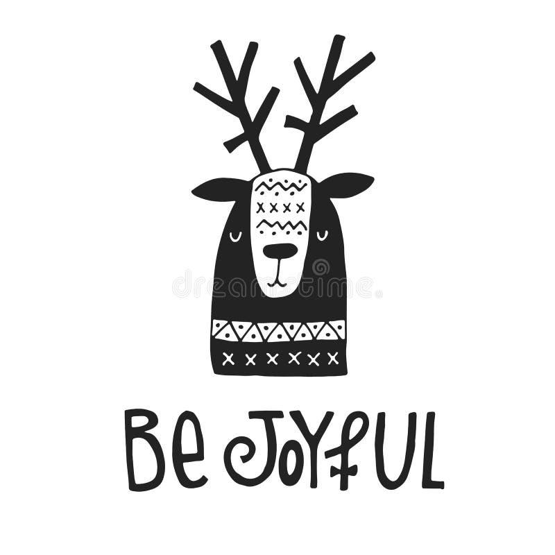 Seien Sie frohe Hand gezeichnete Weihnachtskarte mit Beschriftung und Rotwild in der skandinavischen Art Einfarbiges Plakat des n stock abbildung