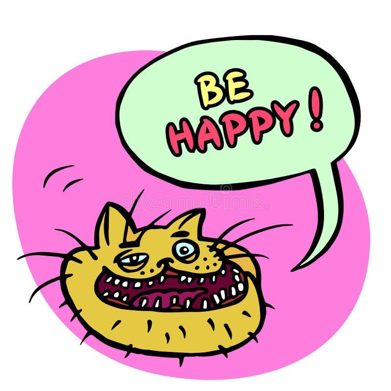 Seien Sie glücklich! Karikatur Cat Head Auch im corel abgehobenen Betrag lizenzfreie abbildung