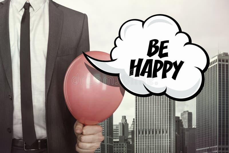Seien Sie glücklicher Text auf Spracheblase stockfoto