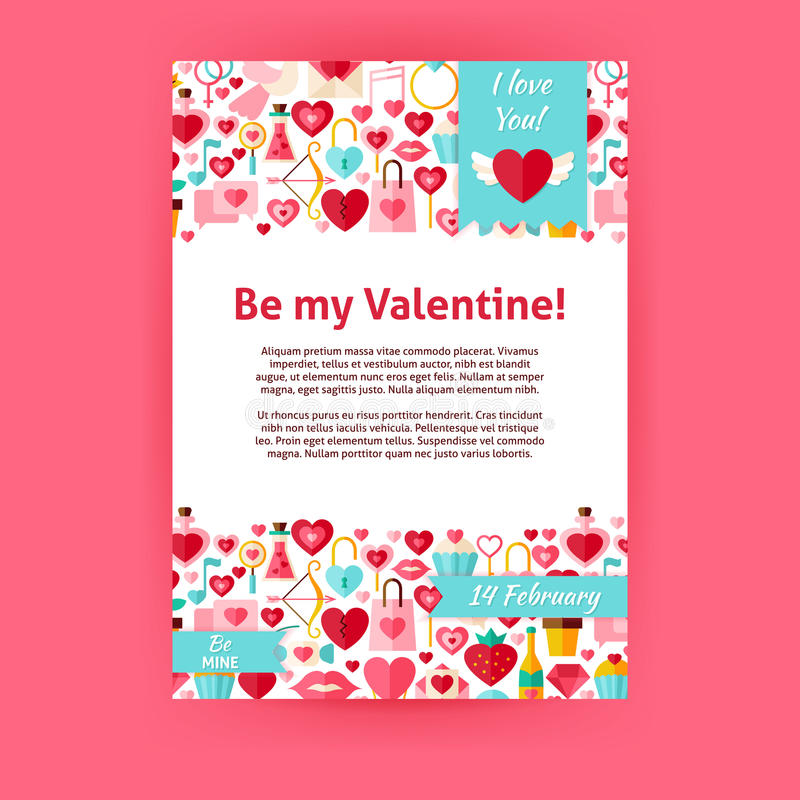 Seien Sie mein Valentine Holiday Vector Invitation Template-Flieger vektor abbildung